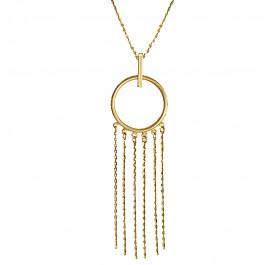 Złoty naszyjnik z kółeczkiem ozdobionym łańcuszkami