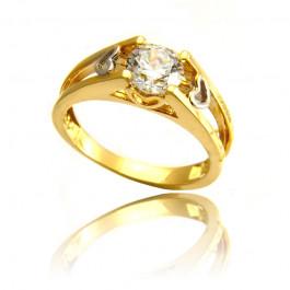 Złoty szykowny pierścionek z serduszkami