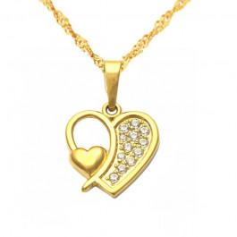 Złoty komplet  łańcuszek z gustownym sercem i cyrkoniami