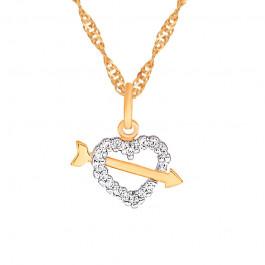 Złoty komplet łańcuszek z uwodzicielskim sercem 333