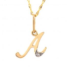 Złota zawieszka w kształcie literki A z cyrkoniami i  łańcuszkiem
