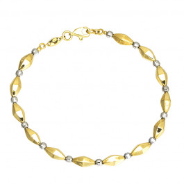 Niesamowita złota bransoletka z subtelnymi kulkami z białego złota Prezent Grawer GRATIS