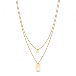 Złoty naszyjnik podwójny łańcuszek z sercem