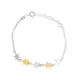 Srebrna bransoletka z kolorowymi gwiazdkami