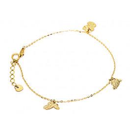 Złota bransoletka 585 złączone serca
