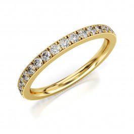 Pierścionek złoty, obrączka zdobiona cyrkoniami