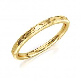 Pierścionek złoty, obrączka z motywem wstęgi
