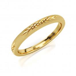 Pierścionek złoty, obrączka o subtelnie rzeźbiona