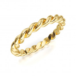 Pierścionek złoty, obrączka ozdobnie pleciona
