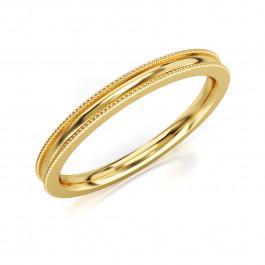 Pierścionek złoty, zdobiona obrączka