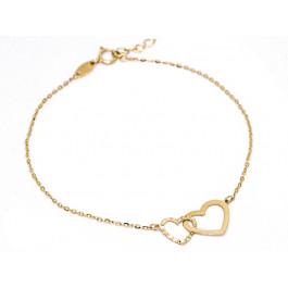 Złota bransoletka 585 splecione serca