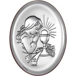 Obrazek srebrny prezent na I Komunię Św. dziewczynka