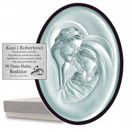 Owalny srebrny obrazek Święta Rodzina Prezent Ślub Chrzest Grawer GRATIS