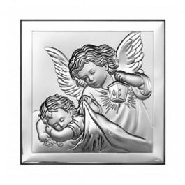 Srebrny Obrazek uroczy Anioł Stróż na Chrzest z grawerem GRATIS