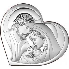 Obrazek srebrny Święta Rodzina w kształcie serca na drewnie