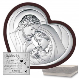Obrazek srebrny z wizerunkiem Świętej Rodziny w symbolicznym sercu z eleganckiego drewna