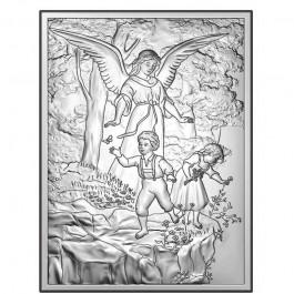 Obrazek srebrny Pamiątka Chrztu Anioł Stróż Grawer GRATIS