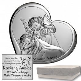 Obrazek srebrny Anioł Stróż w sercu z napisem Pamiątka Chrztu Świętego - niezapomniana pamiątka