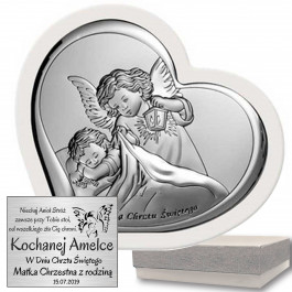 Obrazek srebrny Anioł Stróż Pamiątka Chrztu Chrzest