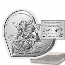 Obrazek srebrny na Chrzest Aniołki Prezent Grawer GRATIS