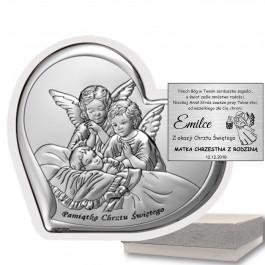 Obrazek srebrny Anioł Stróż Pamiątka na chrzest GRAWER GRATIS