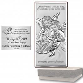 Obrazek srebrny Pamiątka Chrztu Świętego Anioł Stróż