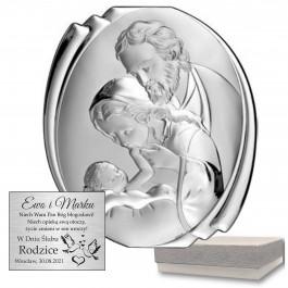 Piękny obrazek srebrny  z wizerunkiem Świętej Rodziny
