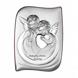 Urzekający srebrny obrazek Aniołek Chrzest Święty Prezent Grawer GRATIS