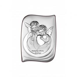 Obrazek srebrny sakralny Anioł Stróż Pamiątka Chrztu Chrzest
