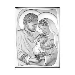 Srebrny obrazek sakralny Święta Rodzina w prostokącie Grawer GRATIS