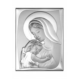 Klasyczny srebrny obrazek Matka Boska z dzieciątkiem Jezus Prezent Grawer GRATIS