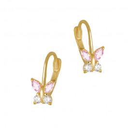 Urocze złote kolczyki Motylki z różowymi cyrkoniami Prezent Grawer GRATIS