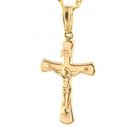 Klasyczny złoty krzyżyk z łańcuszkiem