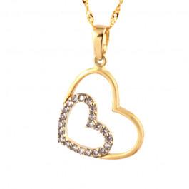 Piękny złoty komplet podwójne serce z łańcuszkiem