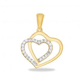 Złota zawieszka podwójne Serduszko z lśniącymi kryształkami