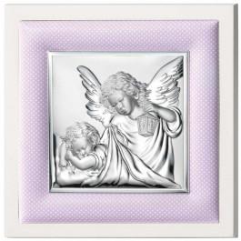 Srebrny obrazek z różową ramką Anioł Stróż na Chrzest z grawerem GRATIS