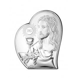 OBRAZEK SREBRNY PAMIĄTKA PIERWSZEJ KOMUNII ŚWIĘTEJ JEZUS W SERCU PREZENT GRAWER GRATIS