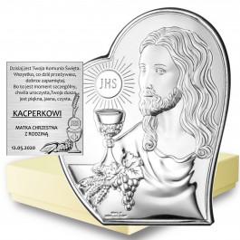 SREBRNY OBRAZEK PAMIĄTKA PIERWSZEJ KOMUNII ŚWIĘTEJ JEZUS W SERCU PREZENT GRAWER GRATIS