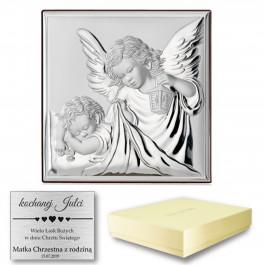 Srebrny Obrazek urzekający Anioł Stróż na Chrzest z grawerem GRATIS