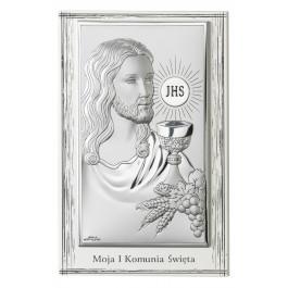 OBRAZEK SREBRNY PAMIĄTKA PIERWSZEJ KOMUNII ŚWIĘTEJ JEZUS W PROSTOKĄCIE PREZENT GRAWER GRATIS