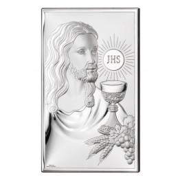 SREBRNY OBRAZEK SAKRALNY PAMIĄTKA PIERWSZEJ KOMUNII ŚWIĘTEJ JEZUS W PROSTOKĄCIE PREZENT GRAWER GRATIS