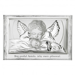 Srebrny obrazek sakralny Anioł Stróż Dziecko Pamiątka Chrztu Chrzest