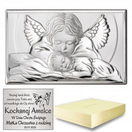 Srebrny obrazek aniołek pamiątka chrztu świętego