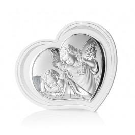 Śliczny srebrny obrazek Aniołek Prezent Chrzest Święty Grawer GRATIS