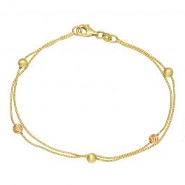 Piękna bransoletka ozdobiona kulkami z żółtego i różowego złota Prezent Grawer GRATIS