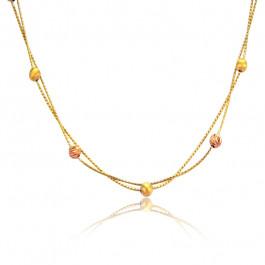 Niezwykły złoty naszyjnik z diamentowanymi kulkami z różowego złota