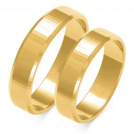 Obraczki ślubne złote, płaskie z fazą, 5,00 mm
