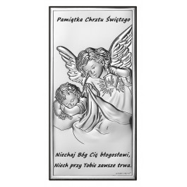 SREBRNY OBRAZEK ANIOŁEK PAMIĄTKA CHRZTU ŚWIĘTEGO PREZENT GRAWER GRATIS