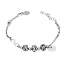 Srebrna bransoletka z sercem i znakiem nieskończoności