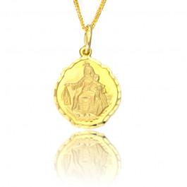 Złoty medalik Matka Boska z dzieciątkiem z diamentowanymi krawędziami